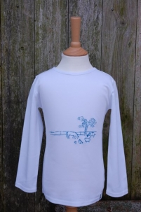 Embroidered Farm Scene Long Sleeved Tee Turquoise -  image 1