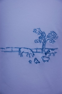 Embroidered Farm Scene Long Sleeved Tee Turquoise -  image 2