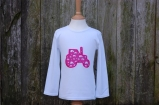 Applique Tractor Long Sleeved Tee White/Pink