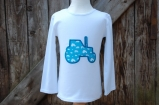 Applique Tractor Long Sleeved Tee White/Turquoise