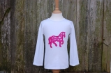 Applique Horse Long Sleeved Tee White/Pink