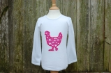 Applique Chicken Long Sleeved Tee White/Pink
