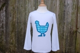 Applique Chicken Long Sleeved Tee White/Turquoise